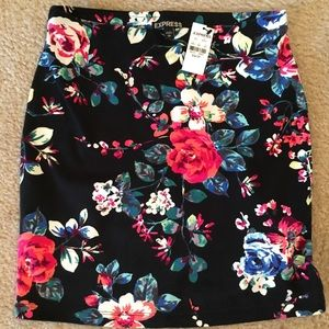 Express floral bodycon skirt